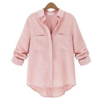 แฟชั่นฤดูใบไม้ร่วงหญิงสาวสวมเสื้อเชิ้ตแขนยาวลำลอง Blusas ปุ่มเสื้อกลับลงปกเสื้อเสื้อยืดเสื้อไซส์พิเศษ S-2XL สีชมพู