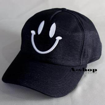 A-shop หมวกแก๊ป หมวกแฟชั่น ผู้หญิง ใบหน้ายิ้ม สีดำ Hat0120-11