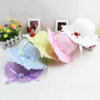เด็กสาวน่ารักดอกไม้ฤดูร้อนเด็กโหนเชือกหมวกหมวกแก๊ปหมวกฟางซันบีชสีม่วง