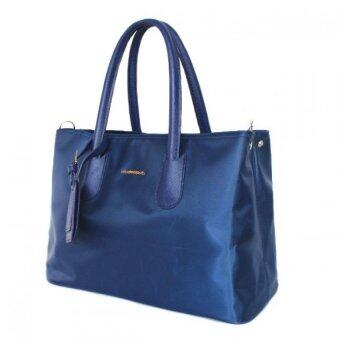 Mango TSAR Tote Artificial Nylon ไนลอน Shoulder Bag - Blue สีน้ำเงิน