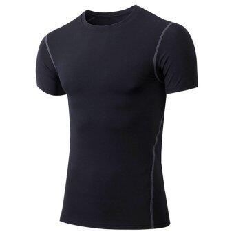 กีฬาฟิตเนสอัดเสื้อผ้าเสื้อยืดเสื้อผ้าแห้งเร็ววิ่งบาสเกตบอล-สีดำ