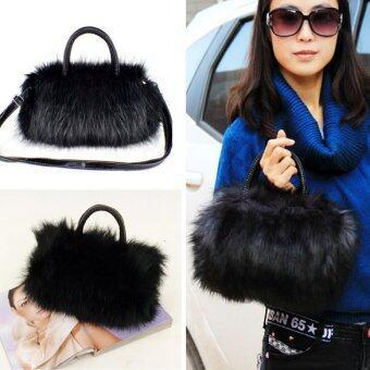 กระเป๋าถือผู้หญิงปลอมขนกระต่ายสีดำ