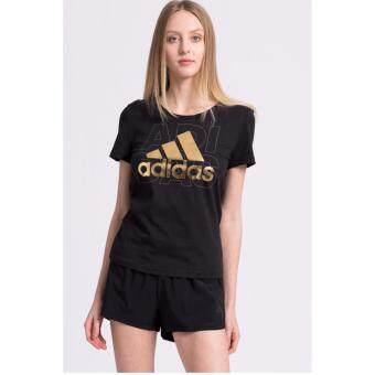 Adidas เสื้อ คอกลม อาดิดาส Women T-Shirt Foil Logo BP8396 BK(850)