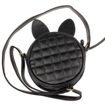 หูกระต่ายเด็ก ๆ ผู้หญิงไหล่กระเป๋าหนังกระเป๋าแมสเซนเจอร์มินิสีดำ-ระหว่างประเทศ