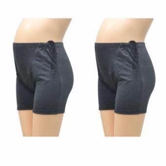 IAMMOM กางเกงซับใน กางเกงซับในคนท้อง แบบปรับเอว สีเทาดำ แพ็คคู่