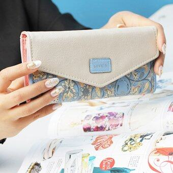 Beauty bag กระเป๋าสตางค์ใบยาว กระเป๋าเงินผู้หญิง กระเป๋าสตางค์น่ารัก รุ่น LW-017 (สีฟ้า/สีขาว)