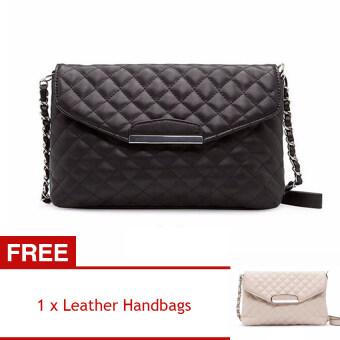 YBC กระเป๋าถือสตรีหนัง pu ผ้าลายกระเป๋าสะพาย (สีดำ) [ซื้อ 1 ได้ 1 ฟรี]