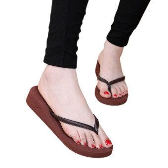 คนเดือนร้อนกันลื่น flip flops ระหว่างส้นเท้าสีน้ำตาล