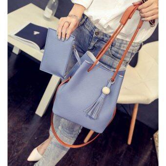 BB กระเป๋าสะพาย กระเป๋าสตางค์ เซตกระเป๋า 2 ใบ (สีฟ้า) รุ่น 8020