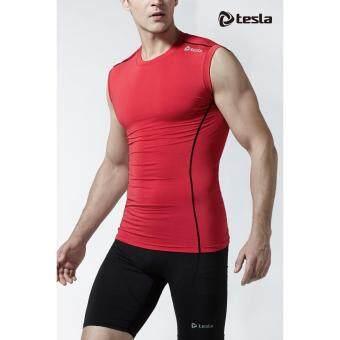 Tesla เสื้อเบสเลเยอร์รัดกล้ามเนื้อแขนกุด สีแดง
