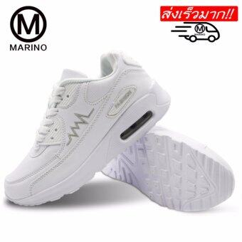 Marino รองเท้านักเรียน-นักศึกษาสีขาว รองเท้าผ้าใบ รองเท้าหนังแฟชั่น No.A021 - White