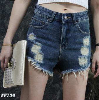Platinum Fashion กางเกงยีนส์ขาสั้นเอวสูง แต่งขาด รุ่นFF736