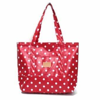 Alizs - กระเป๋าทรงพัดใหญ่ผ้าแคนวาสเคลือบลายเส้นจุดสีแดง