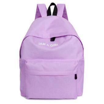 Coconie เพศหญิงชายผ้ากระเป๋าเป้สะพายหลังกระเป๋าสะพายกระเป๋าเป้เรียนหนังสือสีม่วงจัดส่งฟรี