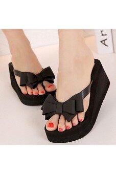 แพลตฟอร์มหญิงทองลิ่ม Flip Flops รองเท้าแตะรองเท้าชายหาดหูกระต่ายสีดำ