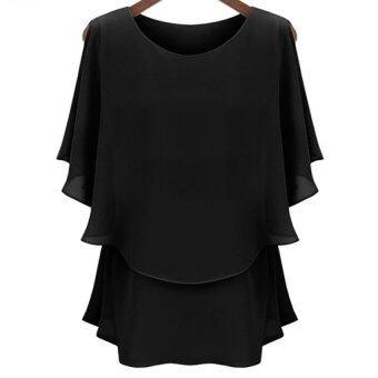 Gracefulvara ผู้หญิงเลดี้ชีฟองเสื้อยืดซัมเมอร์บัวคู่ใหญ่สวมเสื้อเชิ้ตผ้าฝ้ายแขนเสื้อรวมทั้งขนาด (สีดำ)