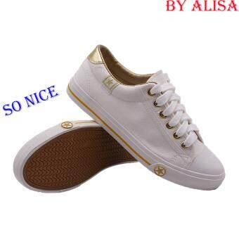 Alisa Shoes รองเท้าผ้าใบสปอร์ต รุ่น B666 (White Gold)