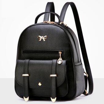 Little Bag กระเป๋าเป้สะพายหลัง กระเป๋าเป้เกาหลี กระเป๋าสะพายหลังผู้หญิง backpack women รุ่น LP-080 (สีดำ)