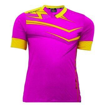WARRIX SPORT เสื้อฟุตบอลพิมพ์ลาย WA-1515 (สีชมพู-เหลือง)