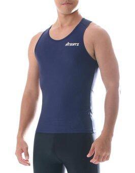 FITSUITS เสื้อกล้าม กระชับกล้ามเนื้อ รัดกล้ามเนื้อ SPORTS COMPRESSION ชุดกีฬา ออกกำลังกาย ว่ายน้ำ วิ่ง ฟิตเนส ฟุตบอล รุ่น ORIGINAL FS-S004 สีกรมท่า NAVY BLUE