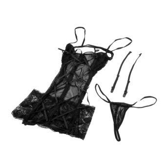 ชุดชั้นในชุดนอนชุดชั้นในชุดนอนลูกไม้...ให้ใคร+จีสตริงเปลือยหลัง (สีดำ)