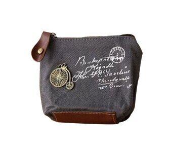 Leegoal เรโทรคลาสสิคกระเป๋าสตางค์กระเป๋าผ้ากระเป๋าซิปใส่เหรียญกระเป๋ากระเป๋า (สีเทารถจักรยาน)