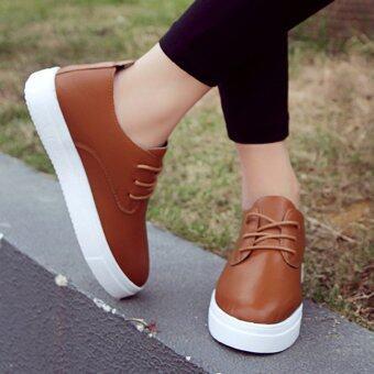 KPshop รองเท้าผ้าใบสีขาว รองเท้าผ้าใบผู้หญิง รองเท้าผ้าใบเกาหลี รุ่น S-016 (สีน้ำตาล)