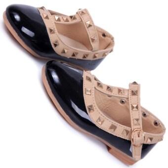 I62 ผู้หญิงหัวหมุดรองเท้าแตะเสื้อยืดรัดนิ้วชี้เด็กแฟลตหนัง Pu สีเจ้าหญิงรองเท้า