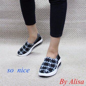 Alisa Shoes รองเท้าผ้าใบผู้หญิงแฟชั่นComfort รุ่น F7068 Black