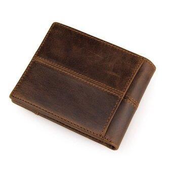 กระเป๋าสตางค์ ผู้ชาย หนังแท้ กระเป๋าเงิน กระเป๋าตัง บาง ทรงสั้น Vintage Retro Mens Genuine Cow Leather Bifold Wallet ID Credit Card Purse - Brown
