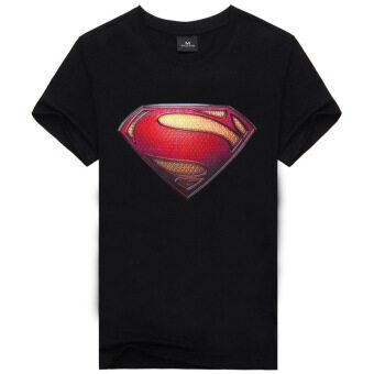 คุณภาพดี 100% คอตต้อน superman การ์ตูน men fashion เสื้อยืด (สีดำ)