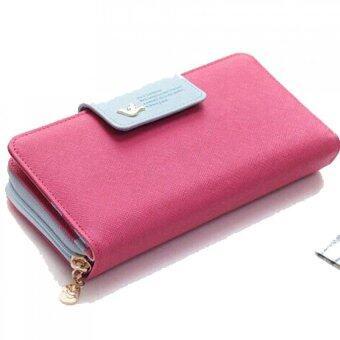 กระเป๋าสตางค์หนังยาวนกคลัตช์รูดบัตรเงินเคสกระเป๋าถือปุ่มร้อนสีชมพู