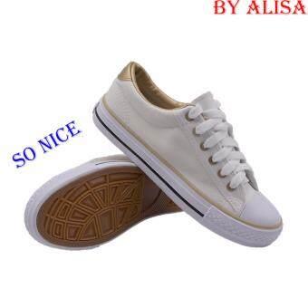 Alisa Shoes รองเท้าผ้าใบผู้หญิง รุ่น TY025 White Gold