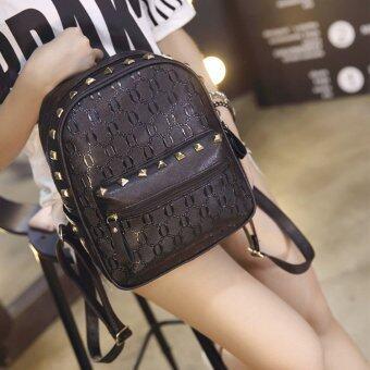 B'nana Beauty กระเป๋าเป้สะพายหลัง กระเป๋าเป้เกาหลี กระเป๋าสะพายหลังผู้หญิง backpack women รุ่น GB-06 (สีดำลายโซ่)