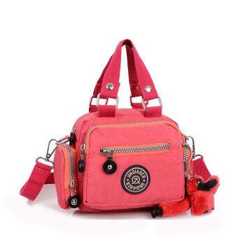 กระเป๋าถือกระเป๋าสะพายกันน้ำเชือกไนลอนเส้นนำแตงโมสีแดง
