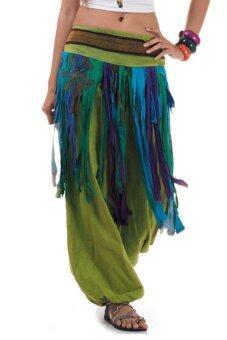 Princess of asia กางเกงแม้ว กางเกงผ้าต่อ ฮิปปี้ โบฮีเมียน (เขียว)