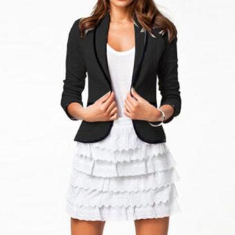 Gracefulvara ปกเสื้อแฟชั่นสตรีเสื้อหุ่นสูทลำลองกระดุมเสื้อนอกทนกว่าธุรกิจแจ็คเก็ตใหม่สีดำ