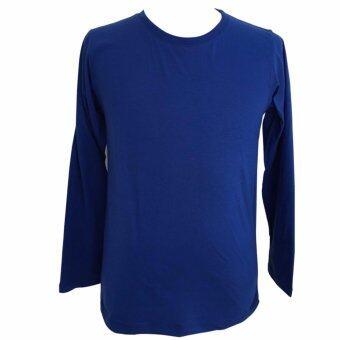 Chahom เสื้อยืดคอกลม แขนยาว สีน้ำเงิน
