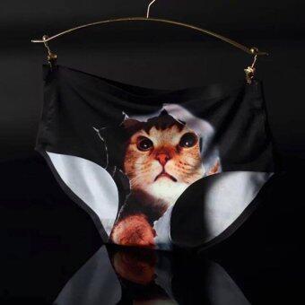 KGoogGig กางเกงชั้นในลายแมวเหมียว 3D น่ารักไร้ตะเข็บ (สีดำ)