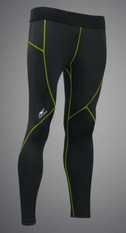 Spandex กางเกงรัดกล้ามเนื้อขายาวตัดต่อ LS001 สีดำ/ตะเข็บเขียว