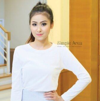 SimpleArea Premium cotton T-shirts เสื้อยืดคอกลมแขนยาว - White
