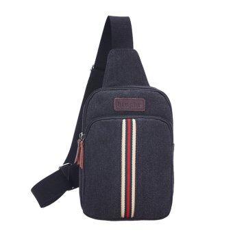 2559 ใหม่กระเป๋ากระเป๋าแฟชั่นผู้ชายกระเป๋าหน้าอกพเนจร (สีดำ)