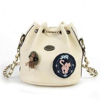 Bag Fashion กระเป๋าสะพายข้างแฟชั่น ทรงขนมจีบสายโซ่ถัก(สีครีม) รุ่นjpg