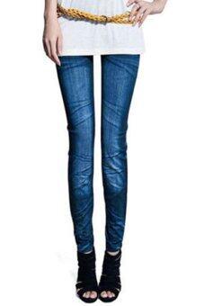 Sanwood สตรีกางเกงยีนส์ยืดสกินนี่พิมพ์เลียนแบบ Jeggings 90ซมสีน้ำเงิน