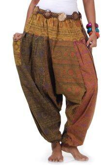Princess of asia กางเกงแม้ว กางเกงผ้าต่อ ฮิปปี้ โบฮีเมียน (โทนน้ำตาล)