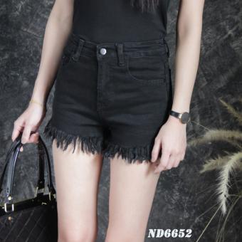 Platinum Fashion กางเกงยีนส์ขาสั้นเอวสูง แต่งขาดลุ่ยๆปลาย รุ่นND6652