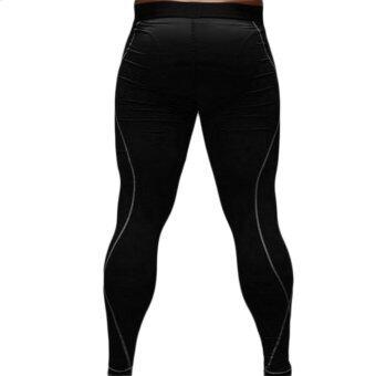 โอบุรุษกางเกงกีฬาขายาวเพรียวแน่นวิ่งความร้อนภายใต้กางเกงสีดำ