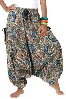 Princess of asia กางเกงแม้ว ฮิปปี้ โบฮีเมียน (สีเขียว)