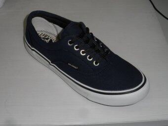 Mashare รองเท้าผ้าใบแฟชั่น มาแชร์ผูกเชือก ทรง VAN V4 สีกรม