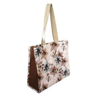 P-Plus กระเป๋าช็อปปิ้ง (ลายดอกไม้โทนน้ำตาล)